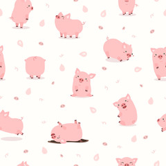 cute pink pig set pattern