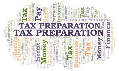 Tax Preparation word cloud.