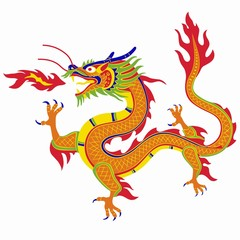 illustration of chinese dragon , vector draw