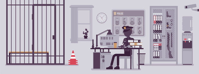 Police station office and a policeman working. Male officer sitting at workplace in city department, room interior with professional tools, wanted poster. Vector illustration with faceless characters