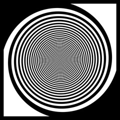 Illustration of psychedelic type, 3d spiral to create an optical illusion with black and white stripes. Rotation in the tunnel with the effect of movement, in the frame. Creating mood, puzzles, magic