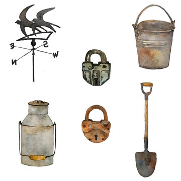 a watercolor large set of arm instruments: bucket, shovel, locks and birds house