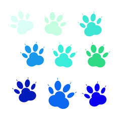 Set of blue icons of paw, cat's feet, dog's footprint. Vector icons isolated on white background.