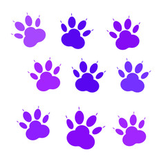 Set of purple icons of paw, cat's feet, dog's footprint. Vector icons isolated on white background.