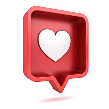 3d perspective social media notification love like heart icon in red rounded square pin isolated on white background with shadow 3D rendering