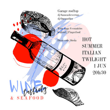 Wine tasting and seafood party poster. Vector hand drawn fish fillet with dry wine bottle. Italian sea fingerfood banner. Modern abstract background. Vintage restaurant menu, invitation, flyer design.