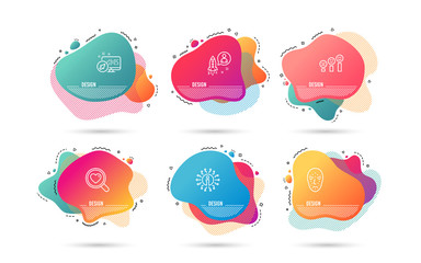 Dynamic timeline set of Search love, Startup and Customer satisfaction icons. Face biometrics sign. Dating service, Developer, Happy smile chart. Facial recognition. Gradient banners. Vector