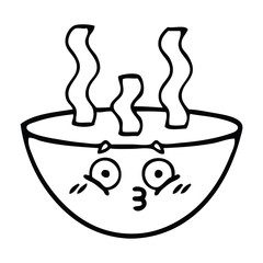 line drawing cartoon bowl of hot soup