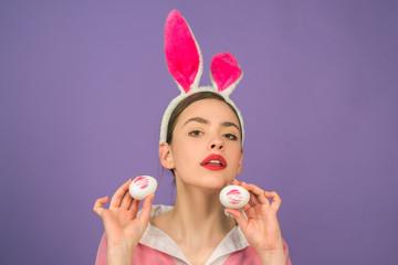 Happy easter. Lipstick kiss print on easter egg. Egg hunt. Lips and Easter, Lipstick kiss imprint on easter egg.