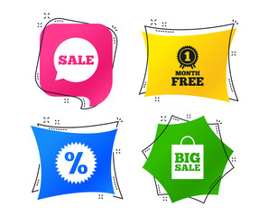 Sale speech bubble icon. Discount star symbol. Big sale shopping bag sign. First month free medal. Geometric colorful tags. Banners with flat icons. Trendy design. Vector