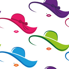 seamless pattern colorful lady chic hat and lips vector illustration EPS10