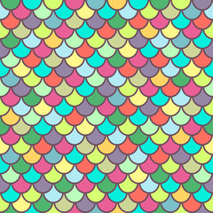 Multicolor fish scales seamless pattern, animal texture, animalistic ornament, rainbow illustration, vector background. Colorful bright round scales in row. Wallpaper, fabric design, textile print