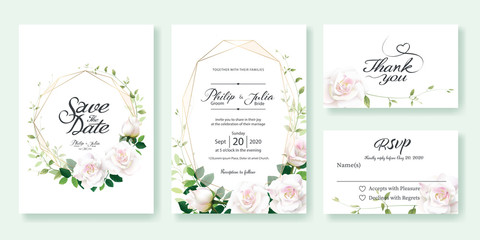 Wedding Invitation, save the date, thank you, rsvp card Design template. Vector. White rose flower, lemon leaf, Ivy leaves.