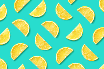 Fruit pattern of lemon slices Wall mural