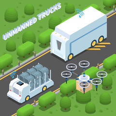 Unmanned Trucks Isometric Composition