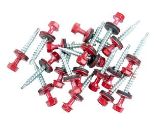 Galvanized self drilling screws with hex/flange head and EPDM washers used for roofing