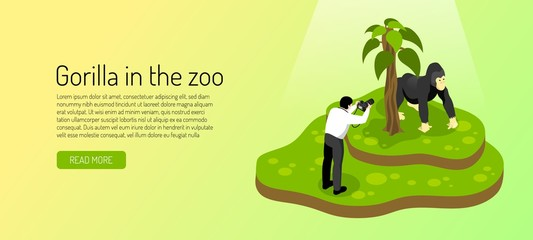 Zoo Isometric Horizontal Banner