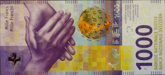A close-up picture shows the new 1,000 franc banknote in Zurich