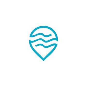 water wave locations logo pin map vector icon