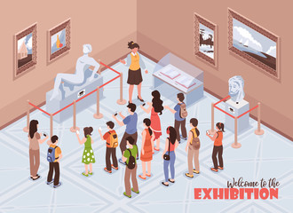 Isometric Museum Exhibition Background
