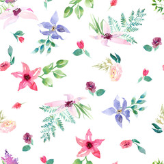 Wedding spring romantic bridal bouquet seamless pattern. pink purple and white flowers green leaves ornament