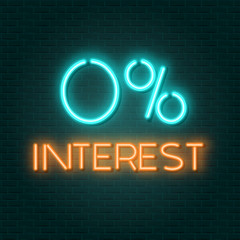 0 interest neon sign