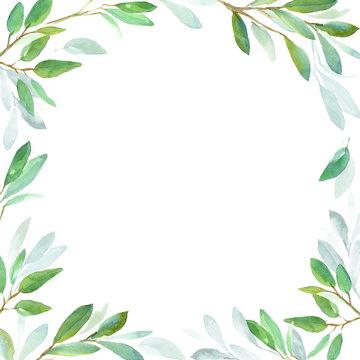 Geometric botanical design frame. Green leaves. Watercolor illustration for wedding invitation design, branding, web sites, social media