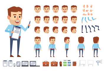 Businessman character in blue shirt creation kit. Creat your own pose, action, animation. Diverse poses, gestures, emotions, design elements. Flat style vector illustration