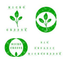 Microgreens Logo Set. Seed and living microgreens packaging design