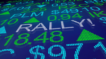 Rally Stock Market Prices Shares Increase Higher 3d Illustration
