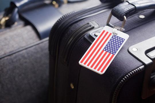 USA Luggage Tag Travel Concept