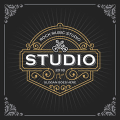 Music studio logo. Vintage Luxury Banner Template Design for Label, Frame, Product Tags. Retro Emblem Design. Vector illustration