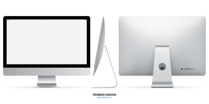 computer monitor mockup in silver color with blank screen view front, back and side on white background. stock vector illustration eps10