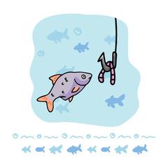 Cute roach fishing cartoon vector illustration motif set.