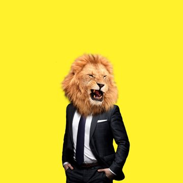 Contemporary art college, man in the form of a lion