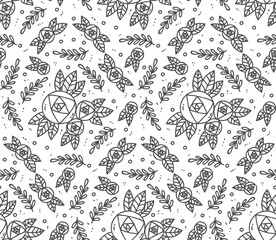 Doodle roses vector pattern