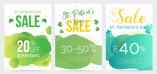 Collection of three St Patricks Day banners, bright templates for business