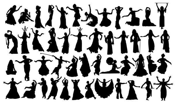 Big Set of oriental dance silhouettes set