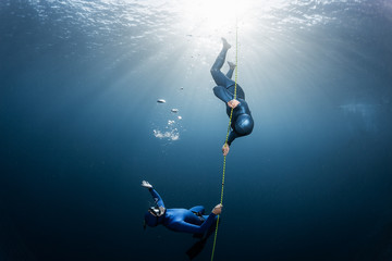 Wall Mural - Two freedivers play with bubbles near the rope