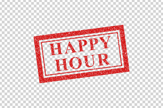Vector realistic isolated red rubber stamp of Happy Hour logo for template decoration on the transparent background.