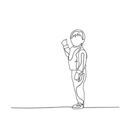 vector, isolated, sketch, simple lines child, boy looking