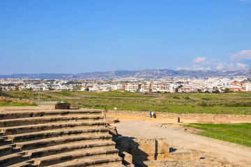 View from The Odeon, Archaeological Park Paphos to Paphos City - Cyprus
