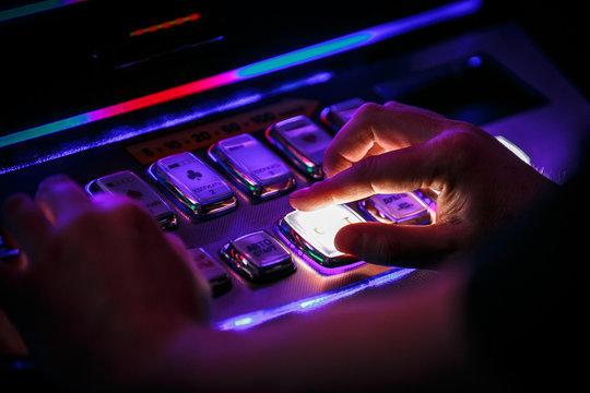 hand pushing button casino