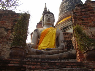 Grande statua di Buddha in pietra