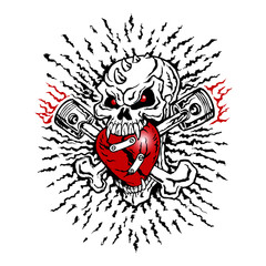 Skull biker and cross bones, flames and heart, emblem, motorcycle vintage graphic design, tattoo, logo, mascot, icon