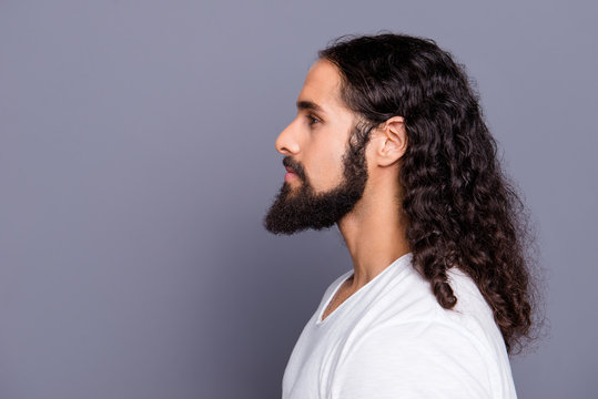 Close-up profile side view portrait of his he nice cool well-groomed attractive peaceful calm wavy-haired guy mustache isolated over gray violet purple pastel background