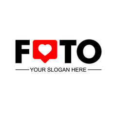 Foto. Business logotype. Corporate, Media, Video, Technology styles. Vector logo. Design template. Counter Notification Icon. Follower Insta. Icon like. Instagram like. Heart icon. Social media.