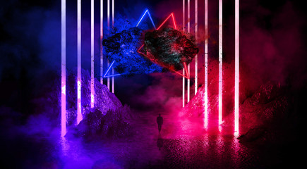 Fotomurales - Space futuristic landscape. Fiery meteorites, sparks, smoke, light arches. Dark background with light element in the center. Silhouette of a man, a reflection of neon lights.  3d rendering.