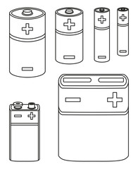 Line art black and white battery collection