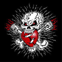 Skull biker and cross bones, flames and heart, emblem, motorcycle vintage graphic design, tattoo, logo, mascot, icon on black background